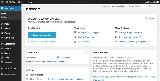 Starting a Blog - WordPress Dashboard