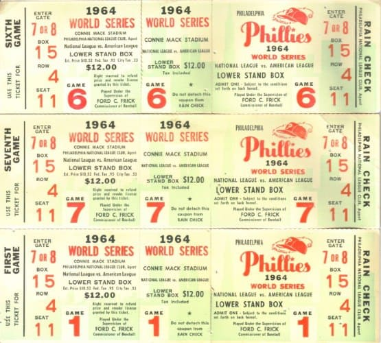 Phillies 1964 World Series Tickets