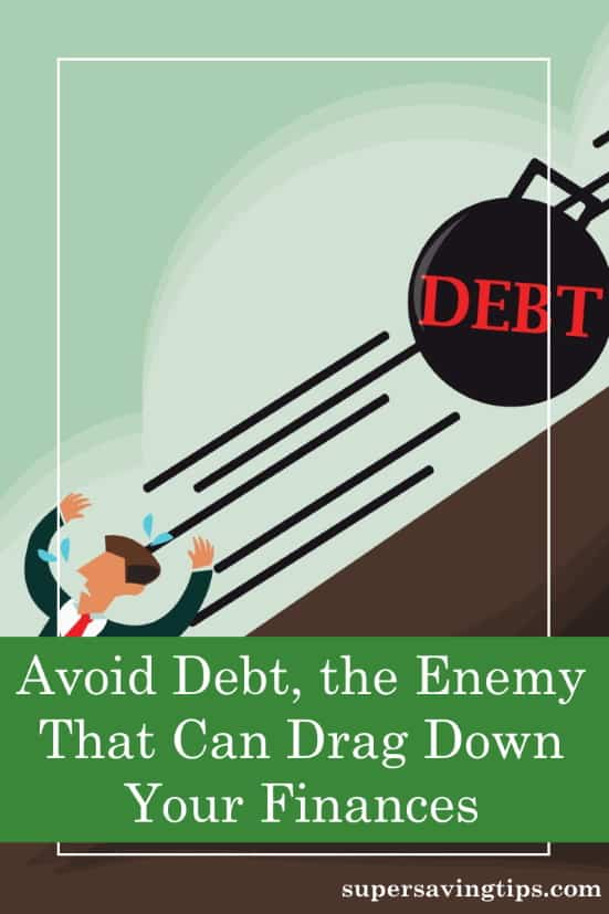 Cartoon of man trying to avoid debt with debt weight falling down on him
