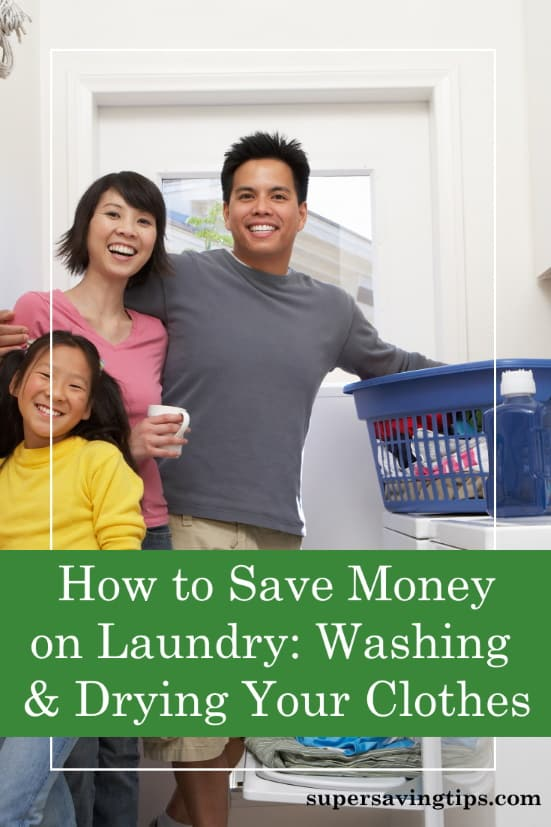 Family washing clothes to save money on laundry