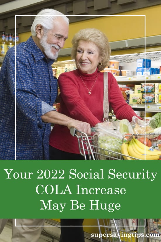 Senior couple shopping in the supermarket after receiving a huge Social Security COLA increase