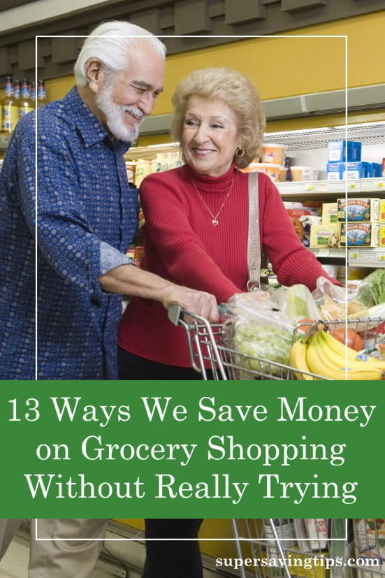 Couple in supermarket trying to save money on grocery shopping