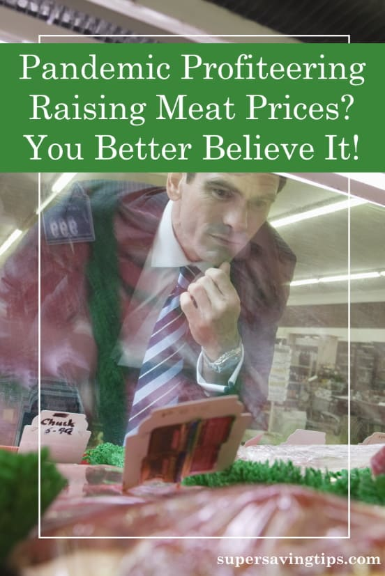 Man looking at high meat prices in butcher case as a result of pandemic profiteering