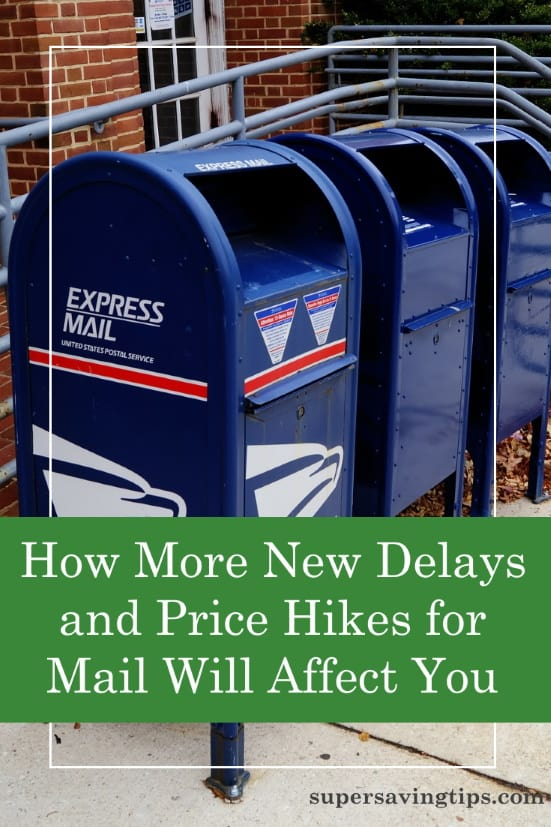 Mailboxes outside the post office where mail prices and delivery times are going up