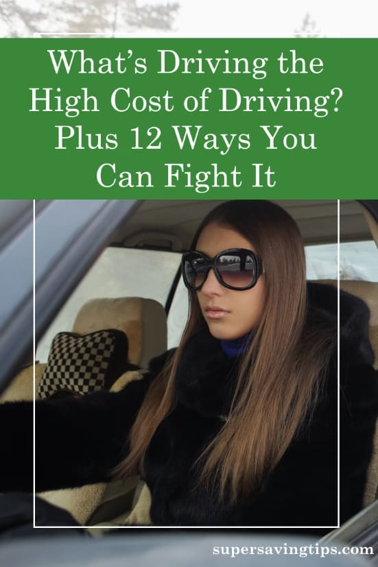 Woman driving car despite the high cost of driving
