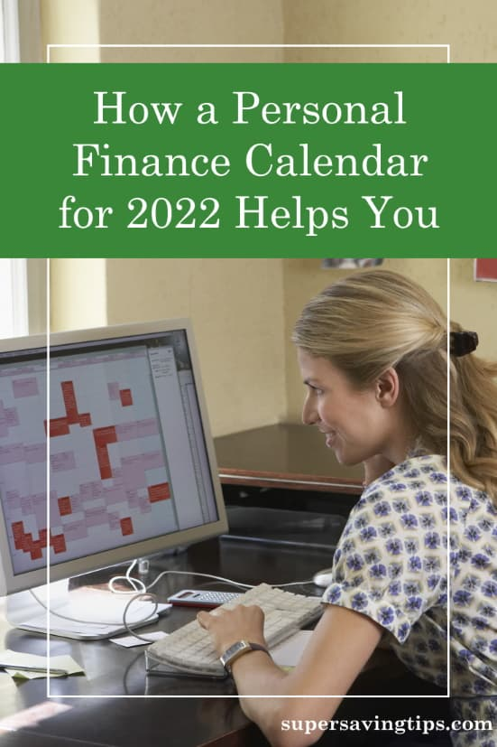 Woman sitting at a computer displaying her personal finance calendar